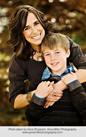 Mother and son smiling image